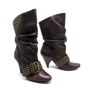 NAUGHTY MONKEY Slouch Buckle Midcalf Boots